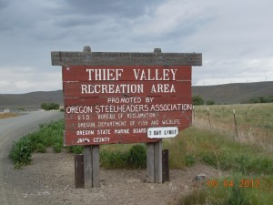 Thief Valley Recreation Area Front Sign