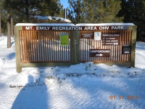 Mt. Emily Recreation Area, Camping Ground, OHV Park Sign