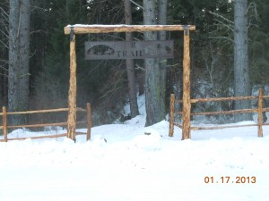 Winter View of the Igo TrailHead, Entrance Sign